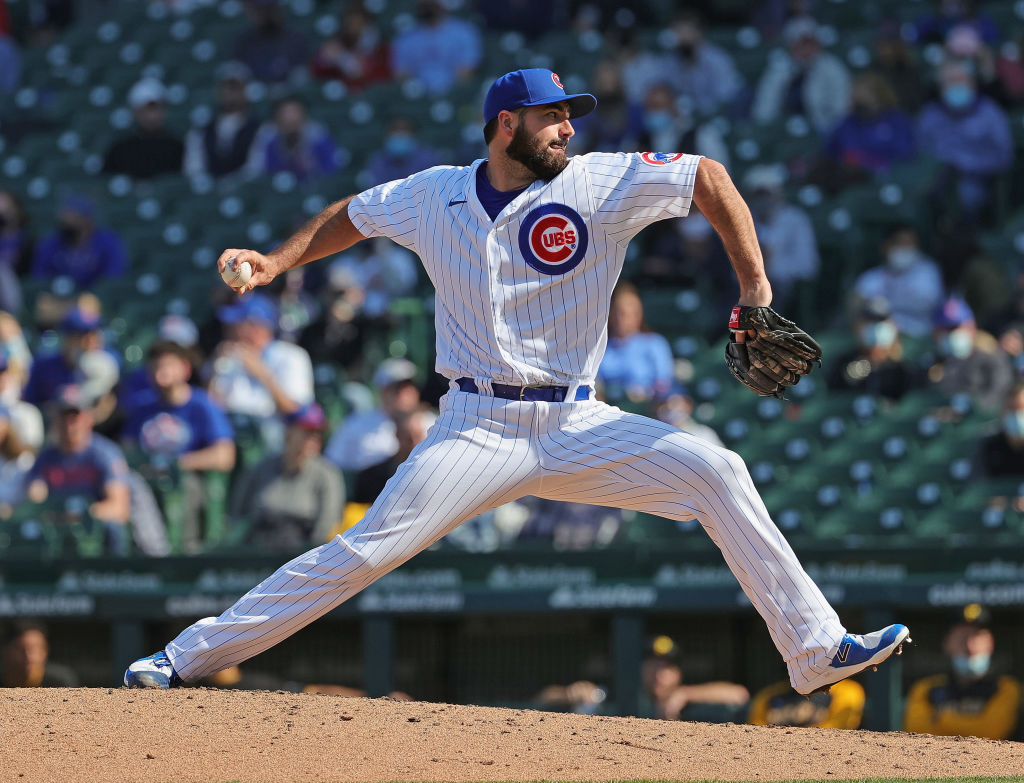 CHICAGO, ILLINOIS - APRIL 03: Brandon Workman #45 of the Chicago Cubs pitches against the Pittsburgh Pirates at Wrigley Field on April 03, 2021 in Chicago, Illinois. The Cubs defeated the Pirates 5-1