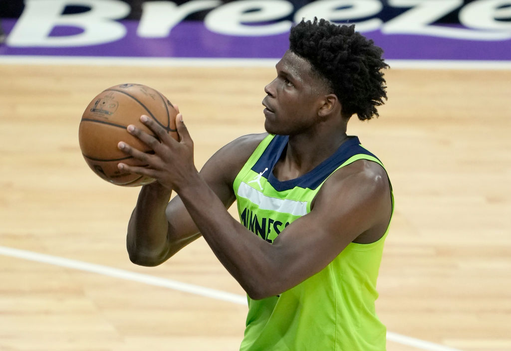 SACRAMENTO, CALIFORNIA - APRIL 21: Anthony Edwards #1 of the Minnesota Timberwolves stands at the line to shoot a foul shot against the Sacramento Kings during the first half of an NBA basketball game at Golden 1 Center on April 21, 2021 in Sacramento, California