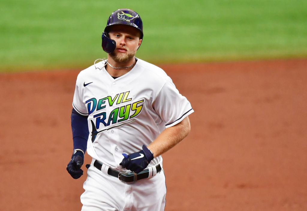 ST PETERSBURG, FLORIDA - MAY 29: Austin Meadows #17 of the Tampa Bay Rays runs the bases after hitting a 2-run home run off of Zack Wheeler of the Philadelphia Phillies in the first inning at Tropicana Field on May 29, 2021 in St Petersburg, Florida
