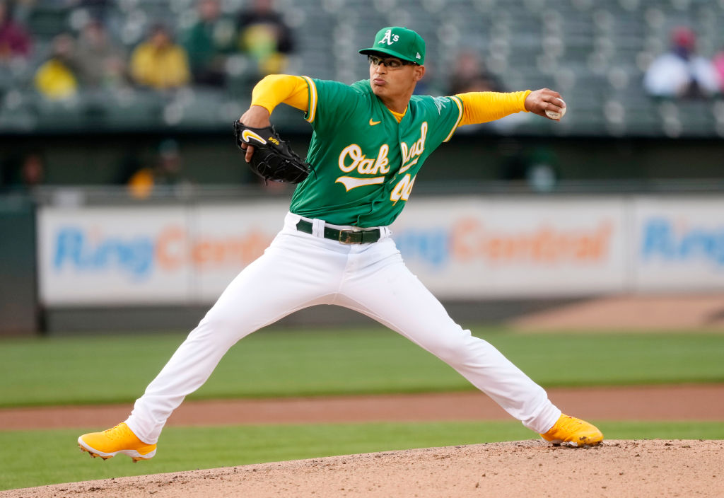 OAKLAND, CALIFORNIA - APRIL 20: Jesus Luzardo #44 of the Oakland Athletics pitches against the Minnesota Twins in the first inning during game two of a double header at RingCentral Coliseum on April 20, 2021 in Oakland, California