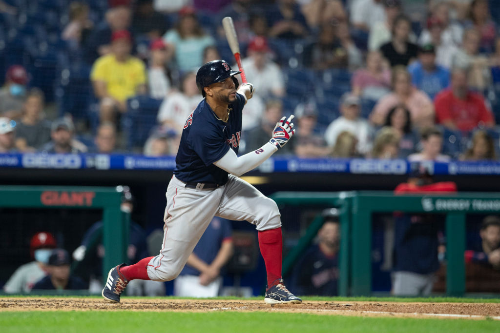 PHILADELPHIA, PA - MAY 22: Xander Bogaerts #2 of the Boston Red Sox hits a solo home run in the top of the sixth inning against the Philadelphia Phillies at Citizens Bank Park on May 22, 2021 in Philadelphia, Pennsylvania. The Red Sox defeated the Phillies 4-3