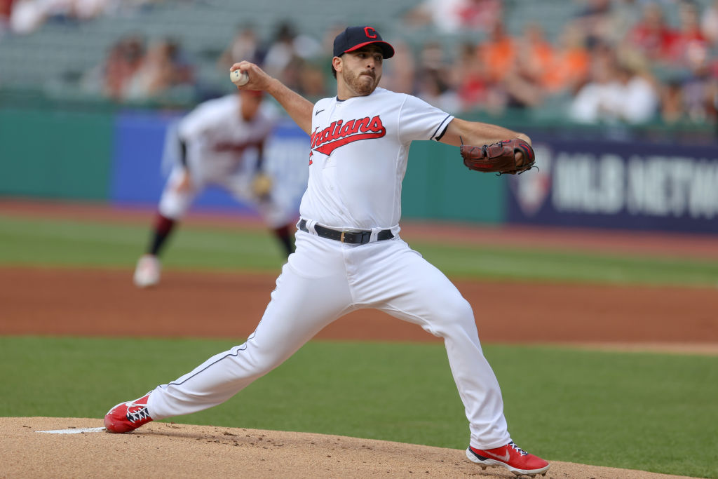 CLEVELAND, OH - JUNE 16: Cleveland Indians starting pitcher Aaron Civale (43) delivers a pitch to the plate during the first inning of the Major League Baseball game between the Baltimore Orioles and Cleveland Indians on June 16, 2021, at Progressive Field in Cleveland, OH