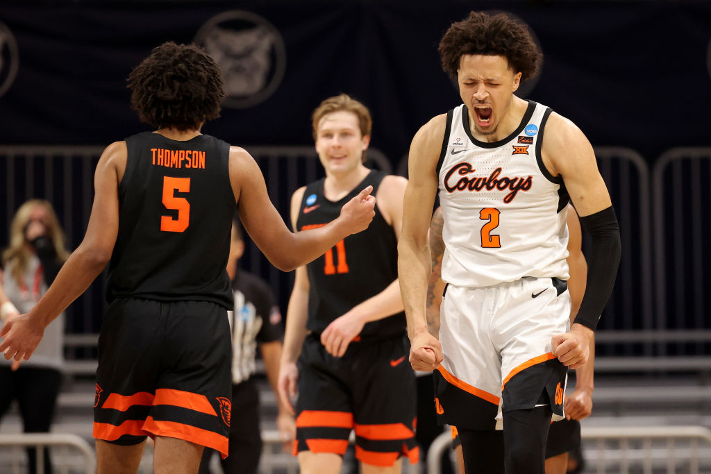 INDIANAPOLIS, INDIANA - MARCH 21: Cade Cunningham #2 of the Oklahoma State Cowboys reacts against the Oregon State Beavers during the second half in the second round game of the 2021 NCAA Men's Basketball Tournament at Hinkle Fieldhouse on March 21, 2021 in Indianapolis, Indiana.