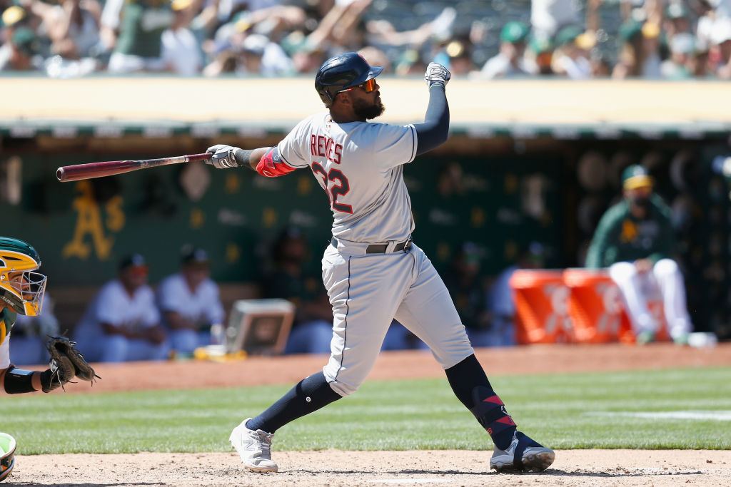 OAKLAND, CALIFORNIA - JULY 17: Franmil Reyes #32 of the Cleveland Indians hits a solo home run in the top of the seventh inning against the Oakland Athletics at RingCentral Coliseum on July 17, 2021 in Oakland, California