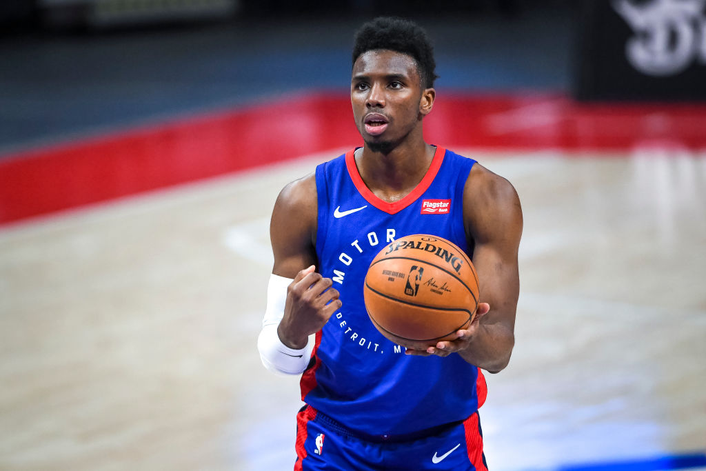 DETROIT, MICHIGAN - APRIL 29: Hamidou Diallo #6 of the Detroit Pistons shoots a free throw against the Dallas Mavericks during the fourth quarter of the NBA game at Little Caesars Arena on April 29, 2021 in Detroit, Michigan
