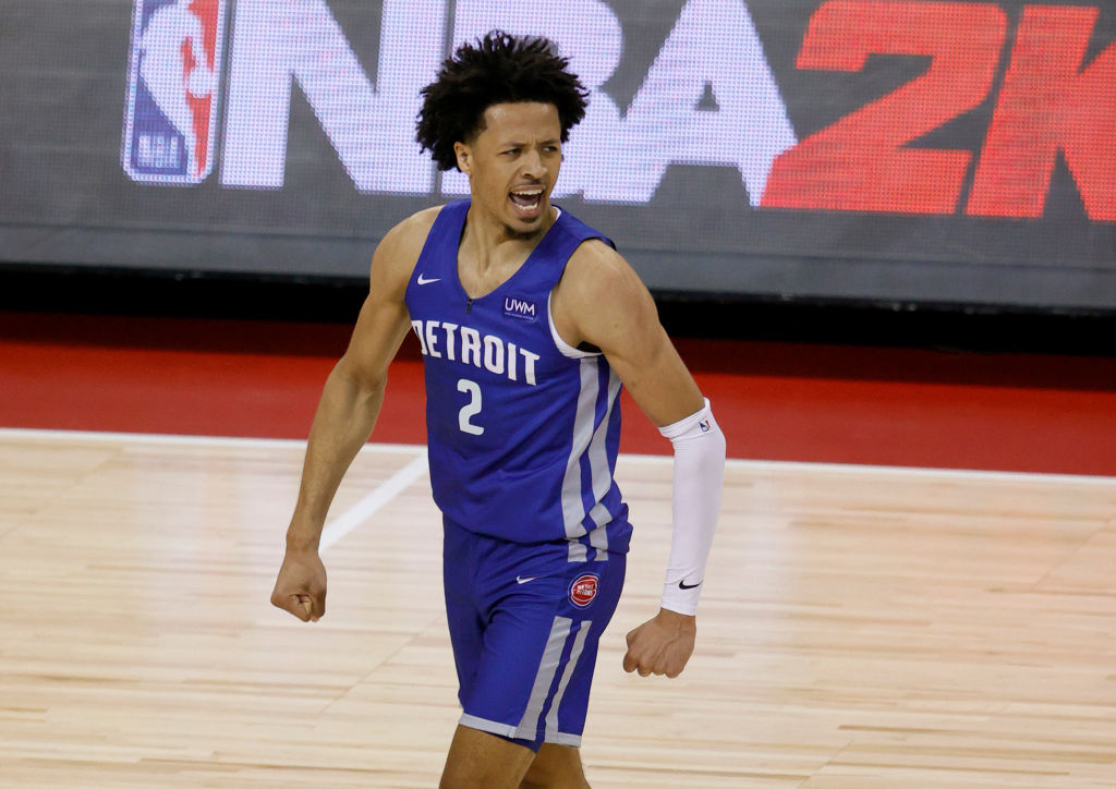 LAS VEGAS, NEVADA - AUGUST 10: Cade Cunningham #2 of the Detroit Pistons reacts on the court after a play against the Houston Rockets during the 2021 NBA Summer League at the Thomas & Mack Center on August 10, 2021 in Las Vegas, Nevada. The Rockets defeated the Pistons 111-91