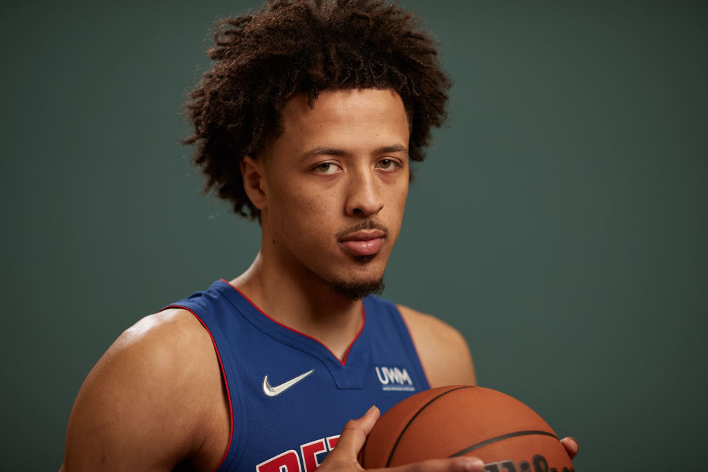 LAS VEGAS, NEVADA - AUGUST 15: Cade Cunningham #2 of the Detroit Pistons poses for a photo during the 2021 NBA Rookie Photo Shoot on August 15, 2021 in Las Vegas, Nevada