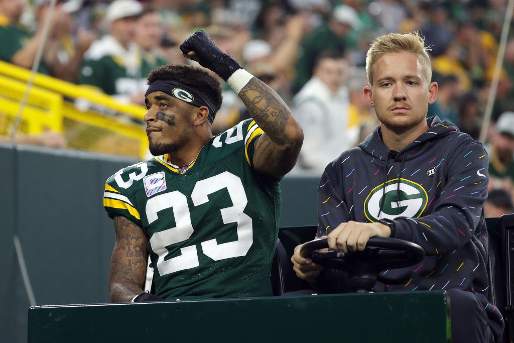 GREEN BAY, WISCONSIN - OCTOBER 03: Jaire Alexander #23 of the Green Bay Packers leaves the field during the third quarter against the Pittsburgh Steelers at Lambeau Field on October 03, 2021 in Green Bay, Wisconsin