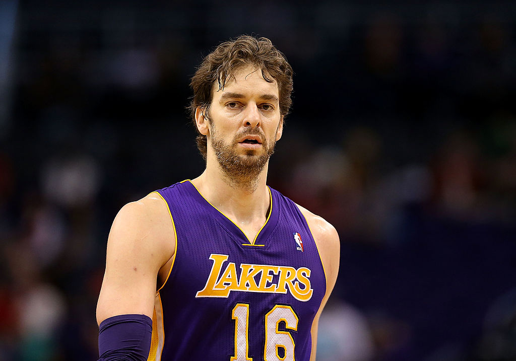 PHOENIX, AZ - JANUARY 15: Pau Gasol #16 of the Los Angeles Lakers during the NBA game against the Phoenix Suns at US Airways Center on January 15, 2014 in Phoenix, Arizona. The Suns defeated the Lakers 121-114